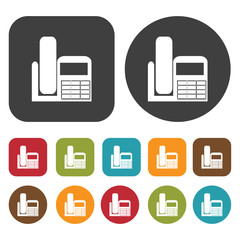 Phone with caller id icon symbol set. Telephone and home phone s
