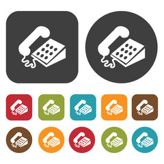 Corded phone icon symbol set. Telephone and home phone set. Roun