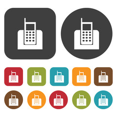 Digital phone icon symbol set. Telephone and home phone set. Rou