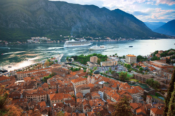 View of Kotor old town from Lovcen Mountain, Montenegro.
