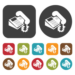Call center phone icon symbol set. Telephone and home phone set.