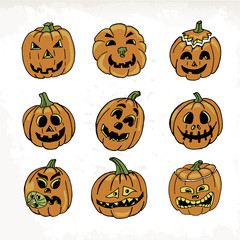 Collection of icons with a terrible pumpkin faces on white