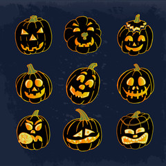Collection of icons with a terrible pumpkin faces. Vector