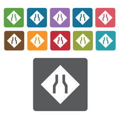 Narrow road sign icon symbol set. Traffic signs set. Rectangle c