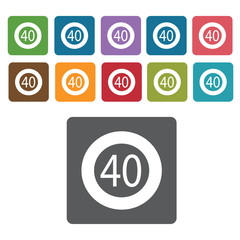 40 limit sign icon symbol set. Traffic signs set. Rectangle colo
