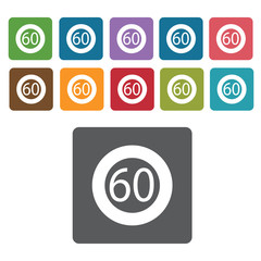 60 limit sign icon symbol set. Traffic signs set. Rectangle colo