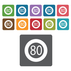 80 limit sign icon symbol set. Traffic signs set. Rectangle colo