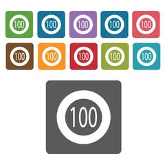 100 speed limit sign icon symbol set. Traffic signs set. Rectang