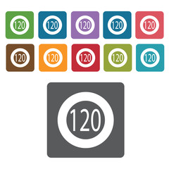 120 speed limit sign icon symbol set. Traffic signs set. Rectang