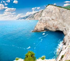 View on cliffs back of Katsiki beach, Lefkada, Greece