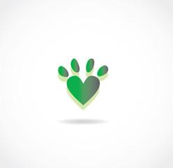 green pet paw icon