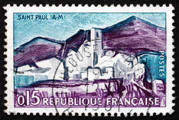 Postage stamp France 1961 View of Saint-Paul, Maritime Alps