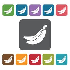 Banana sign icon symbol set. Tropical fruits set. Rectangle colo