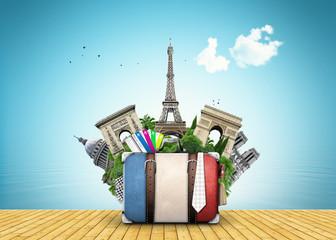 France, landmarks Paris, retro suitcase, travel