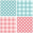 Tile pink and blue vector pattern set with polka dots and  plaid