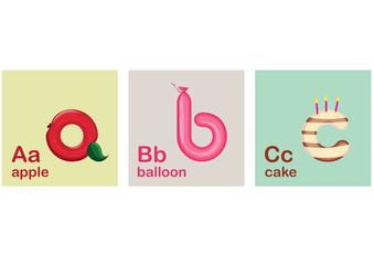 Children Alphabet, Letters, Vector Illustration, a, b, c