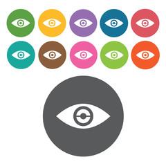 Eye sign icon symbol set. Video interface set. Round colourful 1