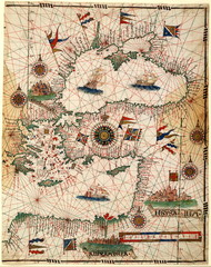 Old map Black Sea and Mediterranian