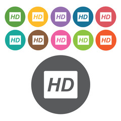 Hd sign icon symbol set. Video interface set. Round colourful 12