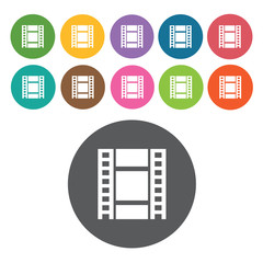 Film strip sign icon symbol set. Video interface set. Round colo