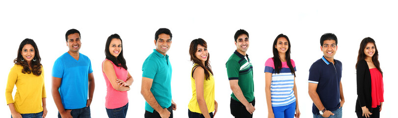 Young Indian/Asian group of people smiling. Isolated on white.