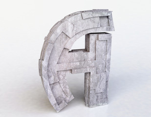 Stone Letter A in 3D