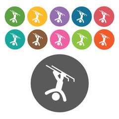 Skiing upside down sign icon symbol set. Winter sport set. Round