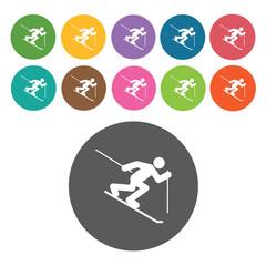 Snow gliding sign icon symbol set. Winter sport set. Round colou