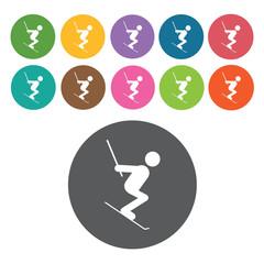 Skiing downhill sign icon symbol set. Winter sport set. Round co