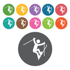 Free style skiing sign icon symbol set. Winter sport set. Round