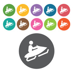 Snow riding sign icon symbol set. Winter sport set. Round colour