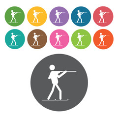 Skiing sign icon symbol set. Winter sport set. Round colourful 1