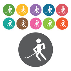 Hockey player sign icon symbol set. Winter sport set. Round colo
