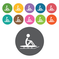 Sitting skiing sign icon symbol set. Winter sport set. Round col