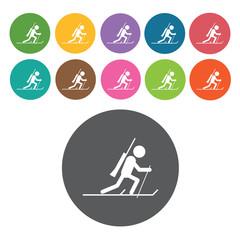 Snow sports sign icon symbol set. Winter sport set. Round colour
