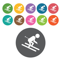 Snow boarding downhill sign icon symbol set. Winter sport set. R