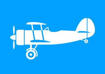 White aircraft icon on blue background