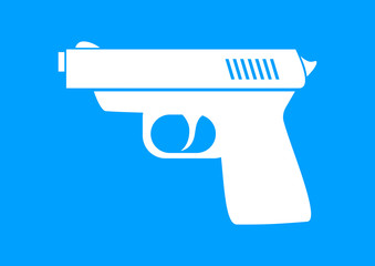 White gun icon on blue background