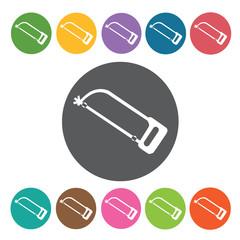Hacksaw sign icon symbol set. Working tool set. Round colourful
