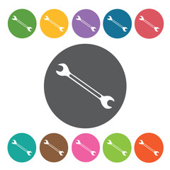 Hand wrench sign icon symbol set. Working tool set. Round colour