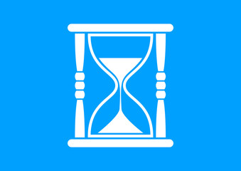 White hourglass icon on blue background