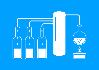 White distillation kit on blue background