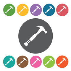 Hammer sign icon symbol set. Working tool set. Round colourful 1