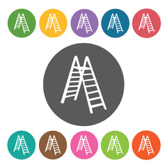 Ladder sign icon symbol set. Working tool set. Round colourful 1