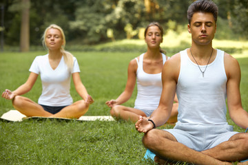 Yoga Class. Group of People Meditating At Summer Park