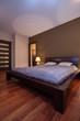 Interior of brown bedroom