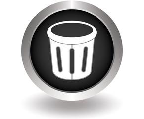 Delete glossy trash. Black Button for website. Vector illustrati