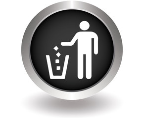 Trash bin or trash can with human symbol in vector. Black Button