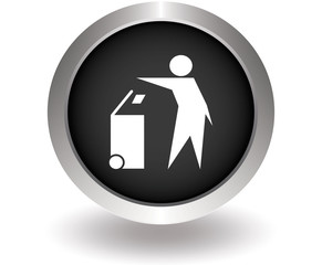 Man and recycled bin. Black Button for website. Vector illustrat