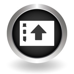 Folder upload icon. Black Button sign symbol for website. Vector